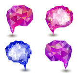 Abstract blue and purple geometric speech bubble with triangular — Vector de stock