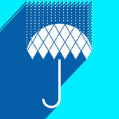 Icon umbrella with rain of rhombus with long shadow — Stock Vector