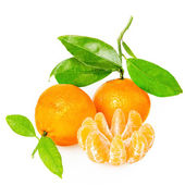 Tangerine with segments on a white background reduce — Stock Photo