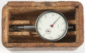 Small old mechanical curvimeter in a box — Stock Photo