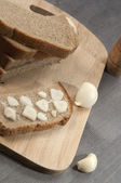 Rye bread with garlic and salt — Stock Photo