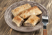 Pannkakor med kött — Stockfoto