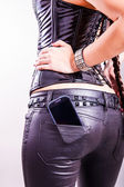 Cell phone in back pocket — Stock Photo