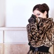 Stock Photo: Fashion model wearing fur