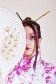 Geisha. traditional make up — Stok fotoğraf