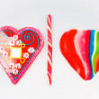 Candy heart and lollipop — Stock Photo