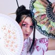 Stock Photo: Portrait of geisha. traditional make up