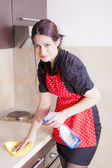 Housewife cleaning in the kitchen — Stock Photo