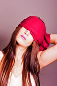 Portrait of a woman with covered eyes — Stock Photo