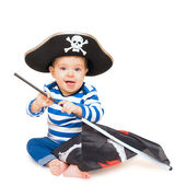 Cute young child dressed as pirate over white — Stock Photo