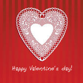 Postcard Valentine's Day with lace heart on red striped — Cтоковый вектор