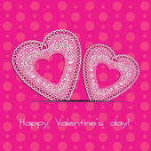 Postcard Valentine's Day with two pink hearts lace on a crimson background — Vetorial Stock