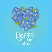 Valentine's Day card with heart of forget-me-not — Stock Vector
