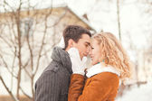Young couple have a walk in the winter park — Foto Stock