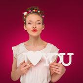 バレンタインの日。愛しています。愛の宣言. — ストック写真