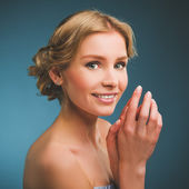 Portrait of beautiful bride. Wedding dress. — Foto Stock