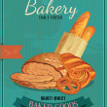 Bakery. Bread. Baton. Bun. French baguette. Croissant. Pretzel. Donuts. — Stock Vector #44428547