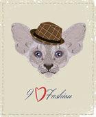 帽子の猫。ファッション。t シャツのデザイン. — ストックベクタ