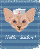 Cat sailor. Design for T-shirts. — Wektor stockowy