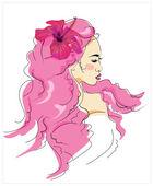 Girl with flower in long hair. T-shirt  design. — Stock Vector