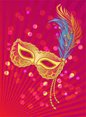 Carnival poster template with mask on lights background — Stockvektor