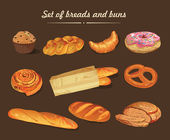 Set of bread, baton, french baguette, bun, donuts, pretzel and muffin. — Stock Vector