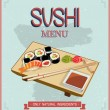 Japanese cuisine restaurant sushi menu cover template in vintage style. — Stock Vector