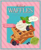 Vintage waffles poster design — Stock Vector