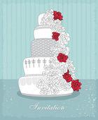 Invitation. Wedding cake. — Stock Vector