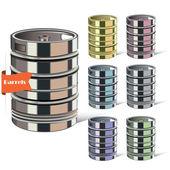 Spilled liquid. Metal multicolored barrels. Steel cans. — Stock vektor