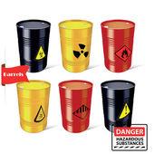 Signs of hazardous substances. Danger. Steel barrels. — Stock Vector