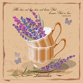 Lavender in a porcelain cup. Provence. Card in vintage — Stock Vector