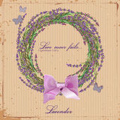 Lavender. Wreath of herbs of Provence. Card for scrapbooking. Poster in vintage — Stock Vector