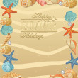 Summer holiday vacation background poster with beach sand seashells, flowers and starfish. — Stock Vector #46586773