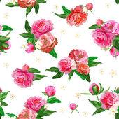 Naadloze patroon met pioenrozen. Peony. bloemen en toppen. bruiloft achtergrond. — Stockvector