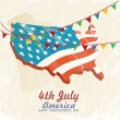 4th of july American independence day greeting card with flag. Vector illustration in vintage style. Retro poster. — Stock Vector #47115483