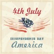 4th of july American independence day greeting card with flag. Vector illustration in vintage style. Retro poster. — Stock Vector