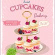 Cupcakes. Poster in vintage style. Birthday card. — Stock Vector #47117889