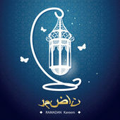 Creative greeting card design for holy month of muslim community festival Ramadan Kareem with moon and hanging lantern and stars on colorful background. — Stockvector