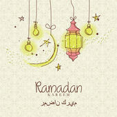 Creative greeting card design for holy month of muslim community festival Ramadan Kareem with moon and hanging lantern and stars on colorful background. — Stock Vector