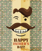 Father's day card in vintage hipster style. Retro poster. — Vector de stock