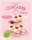 Cupcakes. Poster in vintage style. Birthday card. — Vetorial Stock