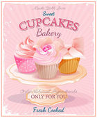 Cupcakes. Poster in vintage style. Birthday card. — Cтоковый вектор