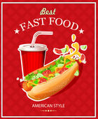 Fast Food. Hot Dog and Cola. Vector illustration. Poster in vintage style. — Stock Vector