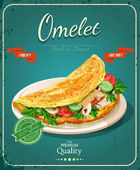 Omelet. Scrambled eggs. Vintage poster. — Wektor stockowy