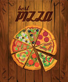 Pizza on wooden background. Menu pizzeria. — Stock Vector