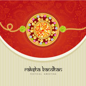 Beautiful rakhi with gems on shiny red and beige background for the festival of Raksha Bandhan celebrations. — Stock Vector