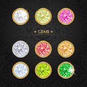 Set of colored gems. — Stock Vector