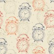Seamless pattern with alarm clocks in vintage style. Vector illustration. Retro background. — Stockvektor