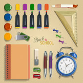Vector frame of school supplies. School poster in vintage style. — Stock Vector